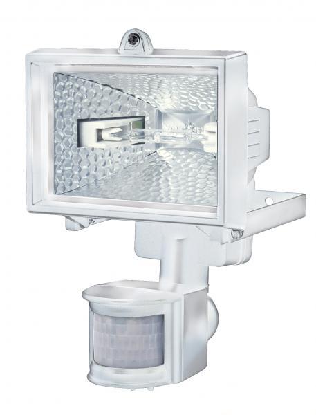 halogenstrahler h 150 ip44 mit infrarot bewegungsmelder 120w 2216lm wei energieeffizienzklasse. Black Bedroom Furniture Sets. Home Design Ideas